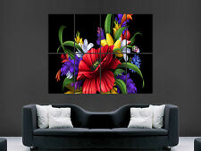 FLOWERS ABSTRACT GIANT WALL POSTER ART PICTURE PRINT LARGE
