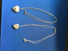 "Two Sterling Silver 20"" Necklaces With Etched Heart Shape Lockets"