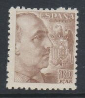 Spain - 1945, 10p Brown General Franco stamp - Without Imprint - M/M - SG 979