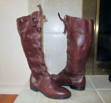 MARAOLO Italy Distressed Caramel Leather Lace Corset Boots Sz.36 1/2 COOL! EUC