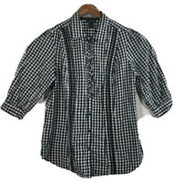 Lane Bryant Women's Size 14/16 Blouse Plaid Ruffle Front Shirt Button 3/4 Sleeve