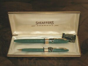 White Dot SHEAFFER Green Snorkel Fountain Pen & Pencil Set in Box-NEVER USED!