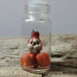 Miniature Skull pumpkins & red candle in glass jar bottle necklace pendant charm
