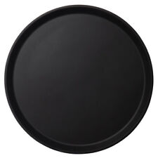 "Cambro Pt1600110 16"" Round Black Non-Slip Polytread Non-Skid Serving Tray"