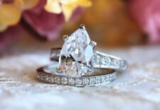 Pear Cut Diamond 4ct Solitaire Bridal Set Engagement Ring 14k White Gold Over