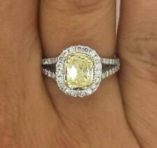 2.03 Ct Oval Cut  Fancy Yellow Diamond Engagement Ring 14K White Gold Enhanced