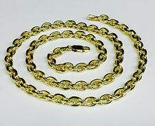 """18k Solid Yellow Gold Handmade Rolo Link Men's Chain/Necklace 26"""" 93 grm 6.7 MM"""