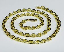 """18k Solid Yellow Gold Handmade Rolo Link Men's Chain/Necklace 28"""" 100 grm 6.7 MM"""