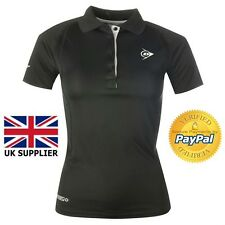 Dunlop Performance Polo Shirt Ladies Top Sport Cycling Activewear Black UK 12