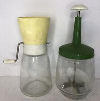Lot Vintage Harvest Gold Food Chopper Jar Nut/Spice Grinder Federal Housewares