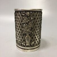 Collect Decor Silver copper Carve flower bottle statue Hollow out brush pot