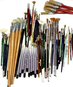 Lot of 85 Mostly Artist Paint Brushes Different Sizes Shapes - Used for Models