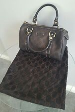 GUCCI Women's Monogram MINI Bowler Bag W / cuoio dettagli-authentic-vgc