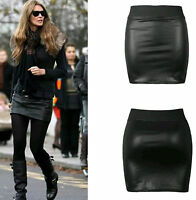 NEW WOMENS BLACK PVC WET LEATHER LOOK MINI PENCIL TUBE BODYCON SKIRT SIZE 8-26