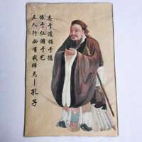 China Taoism Cloth Silk Thinker Confucian School Confucius Tangka Thangka Mural