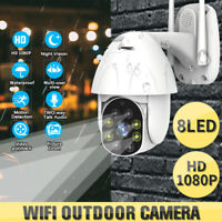 HD1080P 8LEDs WiFi Outdoor Security Camera PTZ CCTV IR Cam Smart Night Vision US