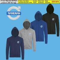 Volvo Zip Hoodie EMBROIDERED Auto Car Logo Sweatshirt Jacket Hoody Mens Clothing