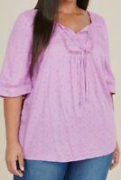 Evans ladies blouse top shirt plus size 14 16 18 20 22 26 lilac tie neck crochet