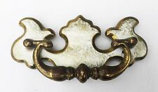 "Brass & White Shabby Colonial Chippendale Antique Hardware Drawer Pull 3"" center"
