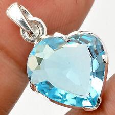 Heart Sky Blue Topaz 925 Sterling Silver Handmade Pendant Jewelry SDP58526