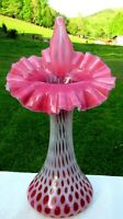 "FENTON CRANBERRY OPALESCENT COIN DOT Jack in the Pulpit JIP VASE 11""H Mint*"