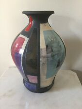 Douglas Kenney Studio Ceramic Art Pottery Large Raku Geometric Vase-Signed #1357