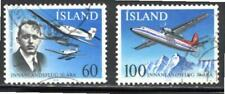 KL6061 1978 Iceland #508-9 Set of 2 Fokker & Junkers Planes Flights Issues Used