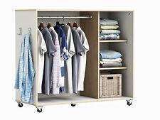 Kleiderschrank auf Rollen #7126 weiß Schrank begehbar Kommode Garderobe Regal