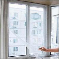 Weiß 130x150cm DIY Fliegengitter Insektenschutz Fenster Fliegenetz mit 5M Kleber