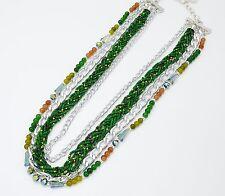 CC456 * Collier Multi-Rangs Chaîne Métal et Perles de Rocaille Mode - Vert