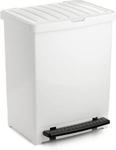 TATAY Pedal Dust Bin, 25 L, Polypropylene, White, One Size
