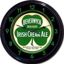 Beverwyck Irish Creme & Ale Albany NY Beer Tray Wall Clock Shamrock Clover Brew