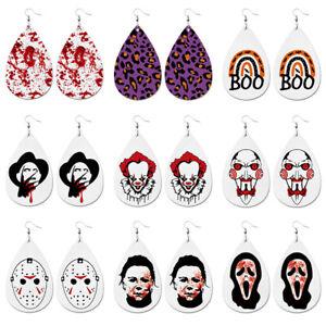 9Pairs/set Halloween Scary Joker Killer Dangle Earrings Clown Pennywise Eardrop