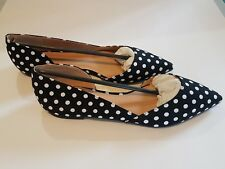 e9aa69d99cce Journee Womens Pointed Toe Cut-out Flats - Black White Dots - Size