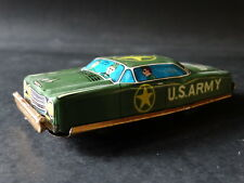 Vintage Japan Tin Litho Friction U.S. Army Car Green Military Soldier War Toy