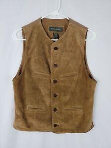 BANANA REPUBLIC Brown Suede Leather Waistcoat Vest Mens XS EUC