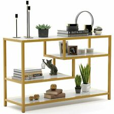 3-Tier TV Console Table with Faux Marble Top & Gold Metal Frame for Living Room
