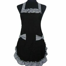 Womens Ladies Fancy Maid Set Apron with Bowknots Pockets