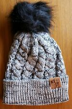 YIN YANG FUR POM BEANIE Winter Hat Snow Ski Cap