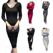 Wadenlange Langarm Damenkleider aus Baumwollmischung