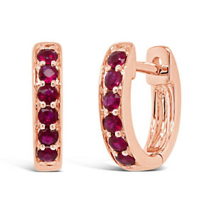 0.28 CT 14K Rose Gold Natural Round Cut Real Ruby Huggie Hoop Earrings