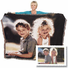 "Woven Personalized Photo Throw Blanket 60"" X 80"" Full Color Made From Your Photo"