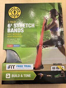 NIB Gold's Gym 6' Stretch Bands 2 pk Light Medium Heavy Resistance Read