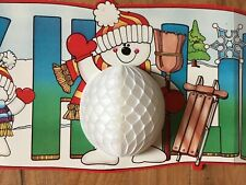 "Snowman DIECUT Banner HAPPY HOLIDAYS Honeycomb 43"" Vintage CHRISTMAS Excellent"