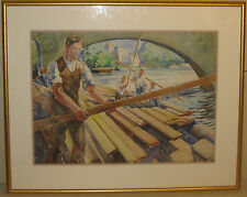 Vintage MONTAGUE CHARMAN 'Working Lumber Yard SAWMILL on River' PAINTING -Listed
