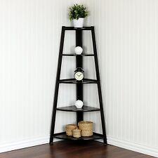 Espresso 5 Shelves Corner Shelf Stand Wood Display Storage Home Furniture 5 Tier