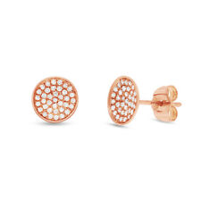 0.19CT 14K Rose Gold Natural Round Cut Pave Diamond Circle Disc Stud Earrings