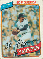 Ed Figueroa 1980 Topps #555 New York Yankees Baseball Card   poor