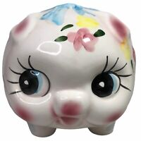 RARE Extra Large Baby Piggy Bank Retro Vintage Floral Pinks