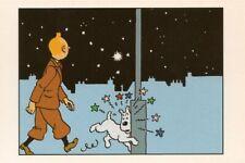 POSTCARD Print / Hergé / Tintin + Milou walking at night / L'Étoile mystérieuse
